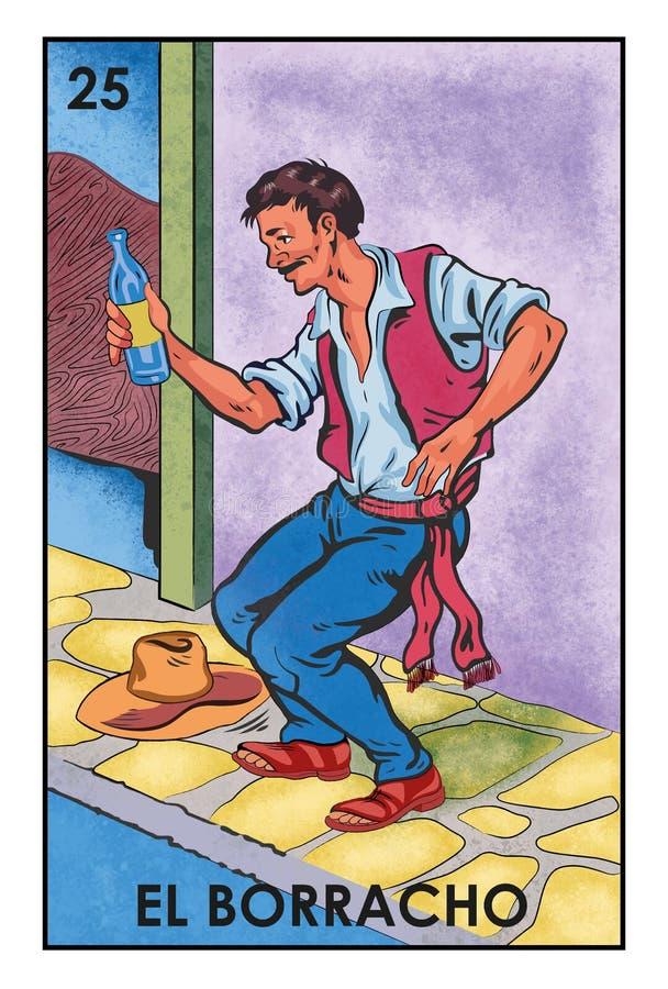 LoterÃa Mexicana - EL Borracho - imagen de alta resolución stock de ilustración