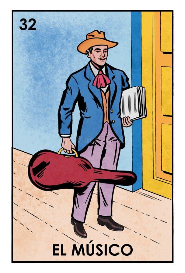 LoterÃa Mexicana - EL Músico - image de haute résolution illustration stock