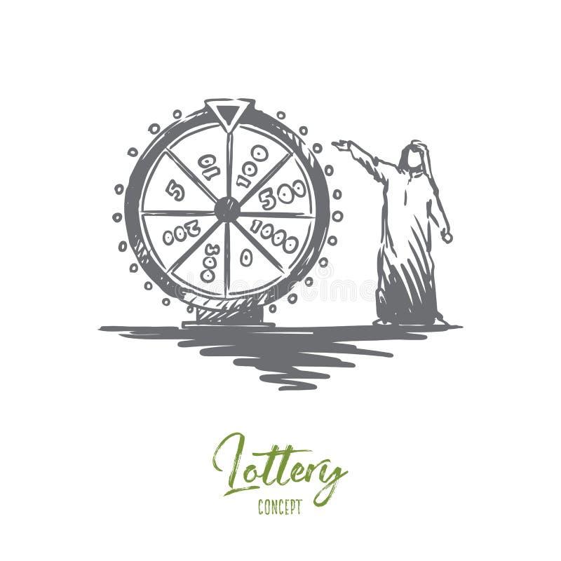 Lotería, casino, rifa, musulmán, concepto árabe Vector aislado dibujado mano stock de ilustración