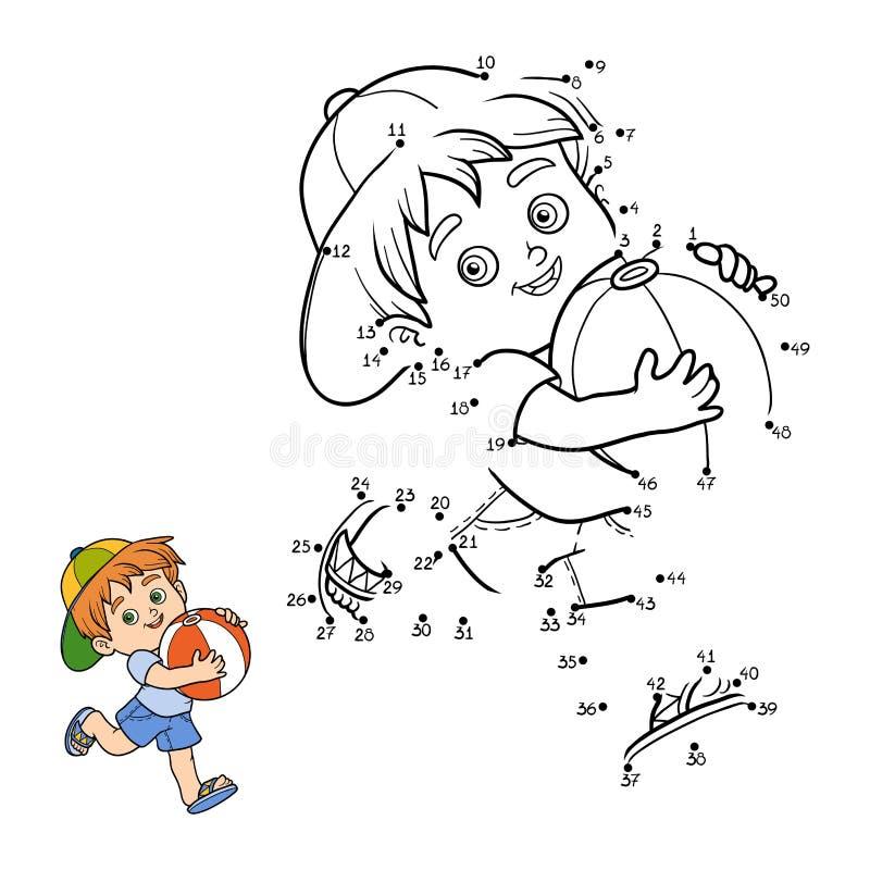 Loteria liczbowa dla dzieci Chłopiec z nadmuchiwaną piłką royalty ilustracja