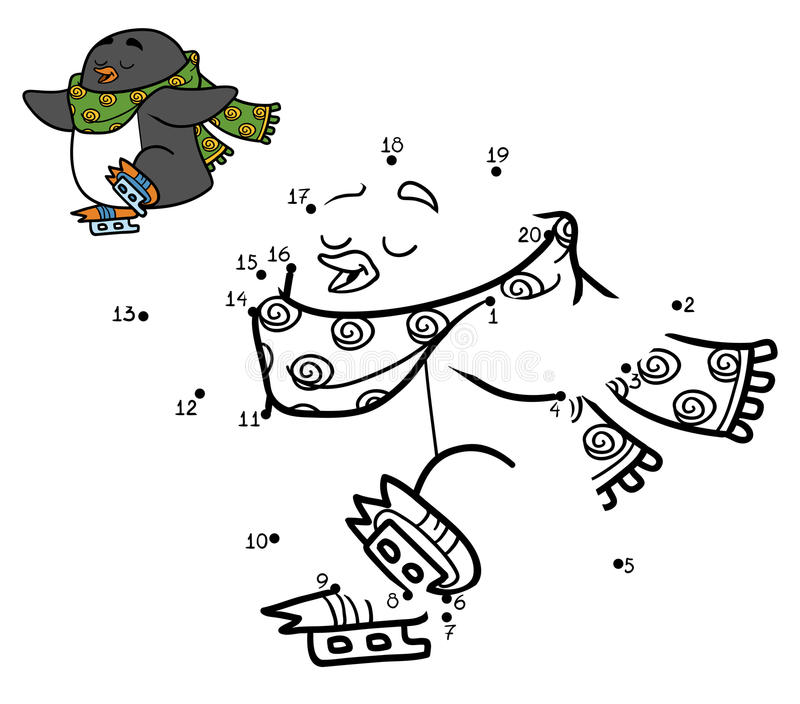 Loteria liczbowa dla dzieci, kropka kropkować, pingwin na łyżwach ilustracji