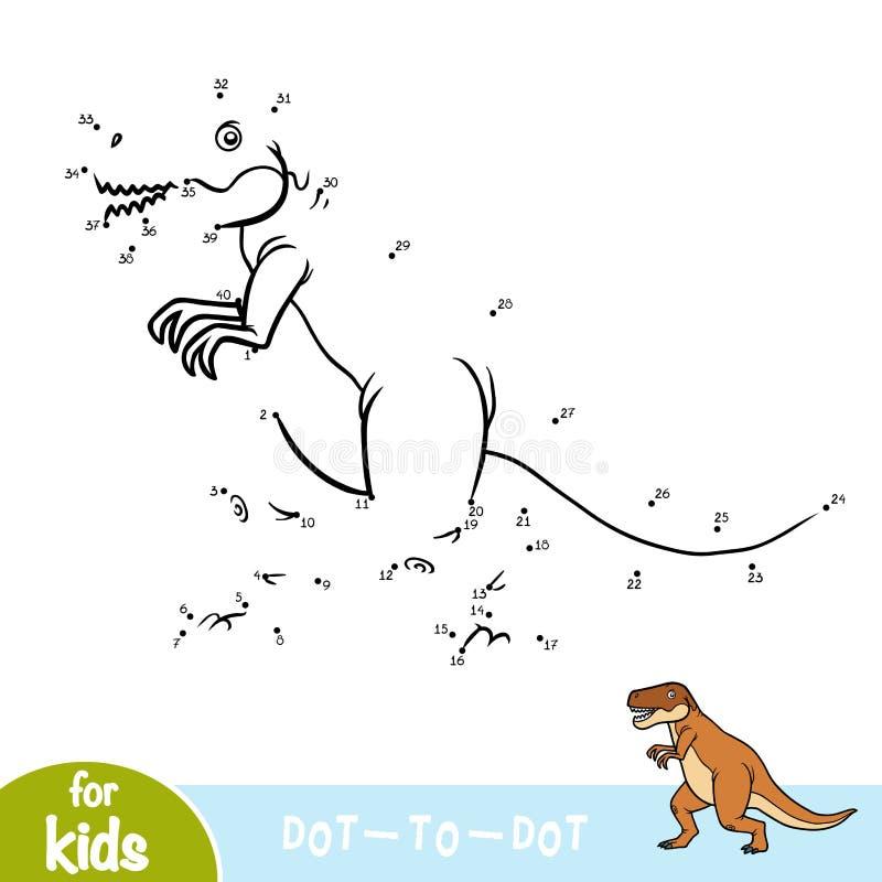 Loteria liczbowa, edukaci gra dla dzieci, Tyrannosaurus royalty ilustracja