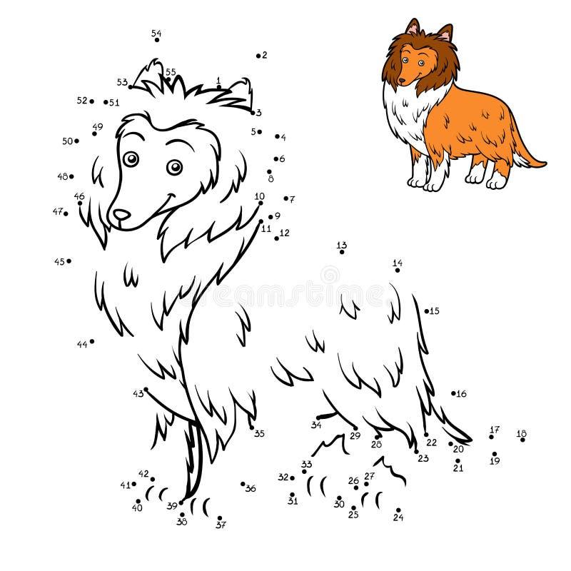 Loteria liczbowa, edukaci gra, psów trakeny: Collie ilustracji