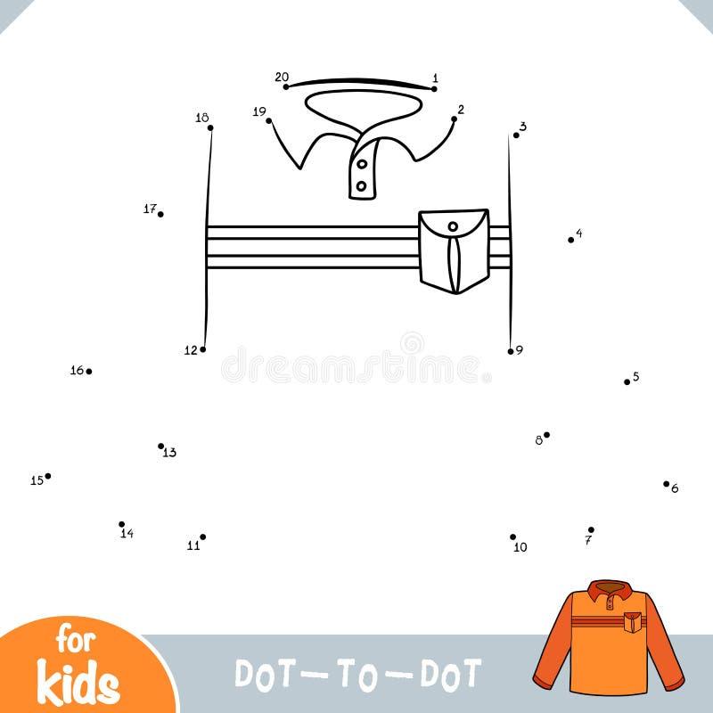Loteria liczbowa, kropka kropkować grę dla dzieci, Długa rękawa polo koszula ilustracja wektor