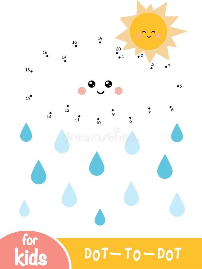 Loteria liczbowa, kropka kropkować grę dla dzieci, słońce z chmurą i raindrops, ilustracja wektor