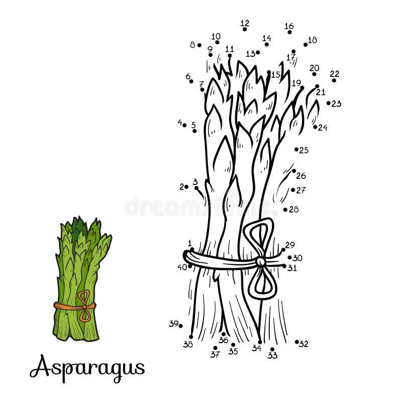 Loteria liczbowa: owoc i warzywo (asparagus) ilustracja wektor