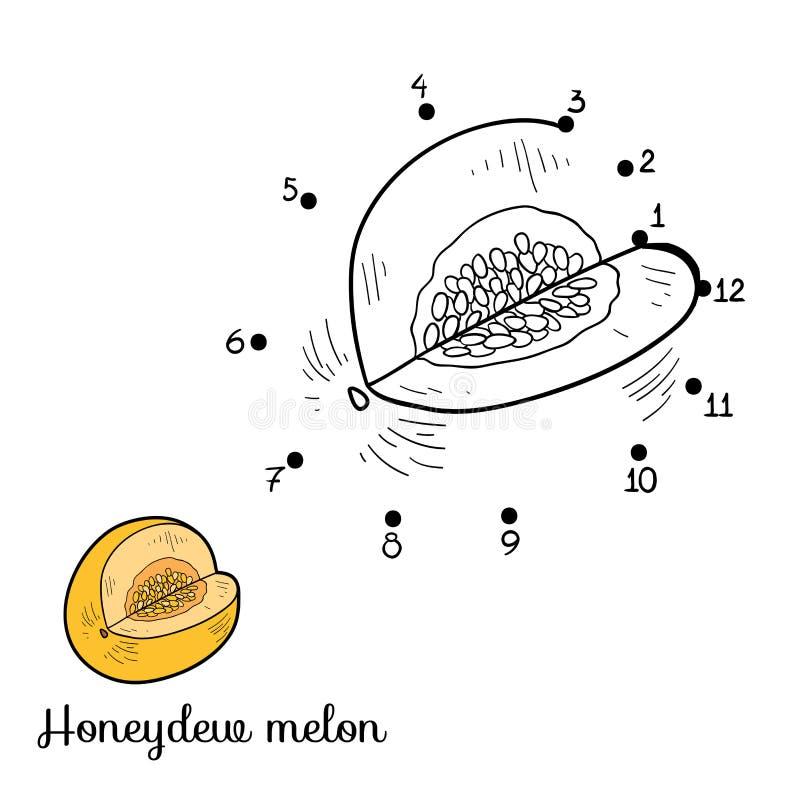 Loteria liczbowa: owoc i warzywo (miodunka melon) ilustracja wektor