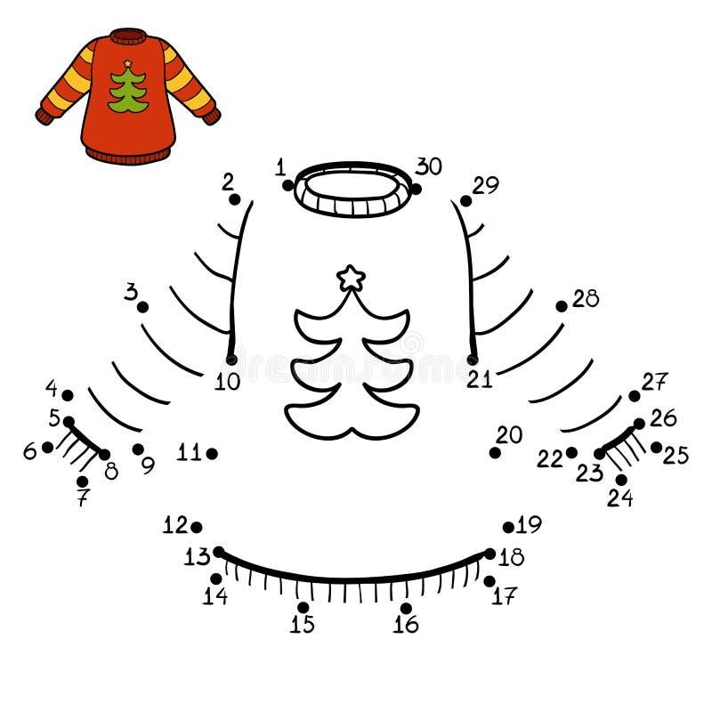 Loteria liczbowa, pulower z choinką ilustracja wektor