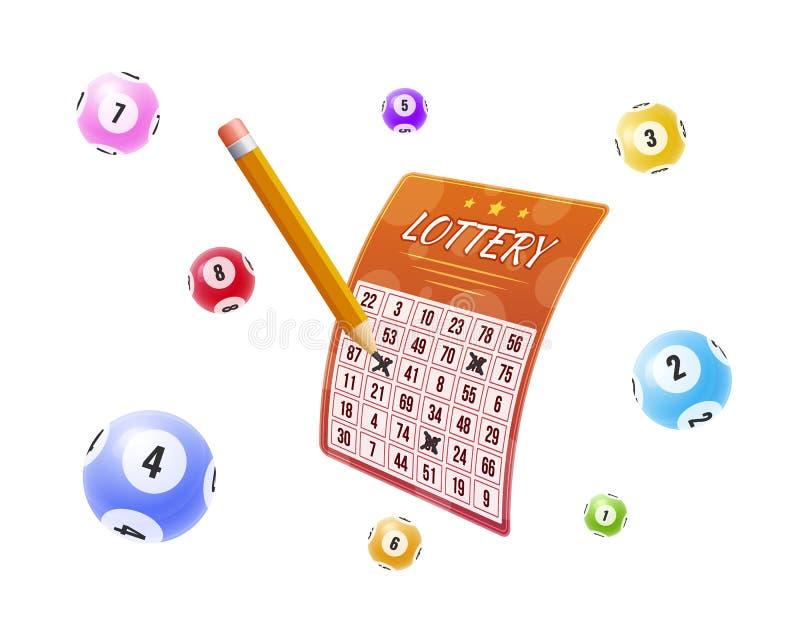 Loterie avec des nombres marqués de gains Boules avec des nombres pour le jeu illustration de vecteur