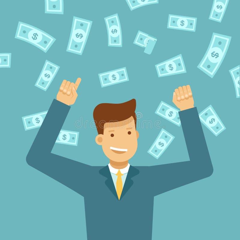 Loterie de gain d'argent d'homme heureux illustration de vecteur