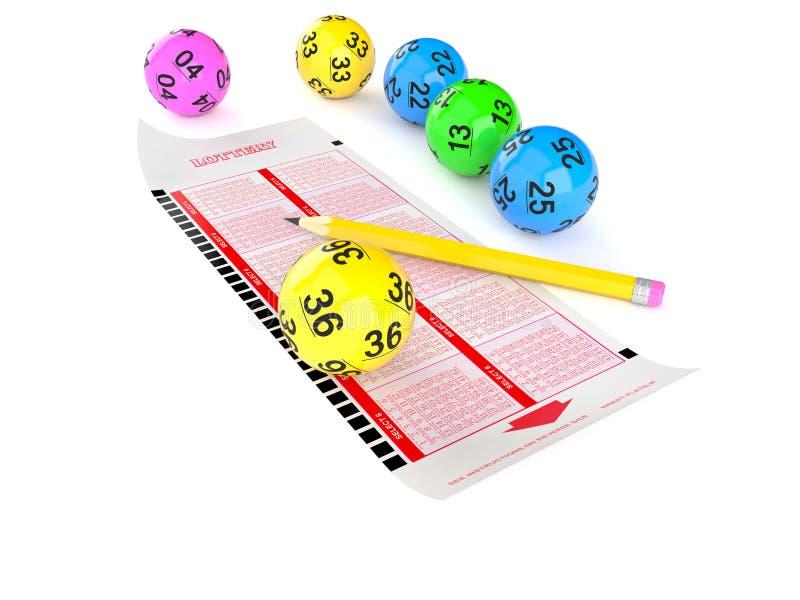 Loterij leeg kaartje met lottoballen vector illustratie