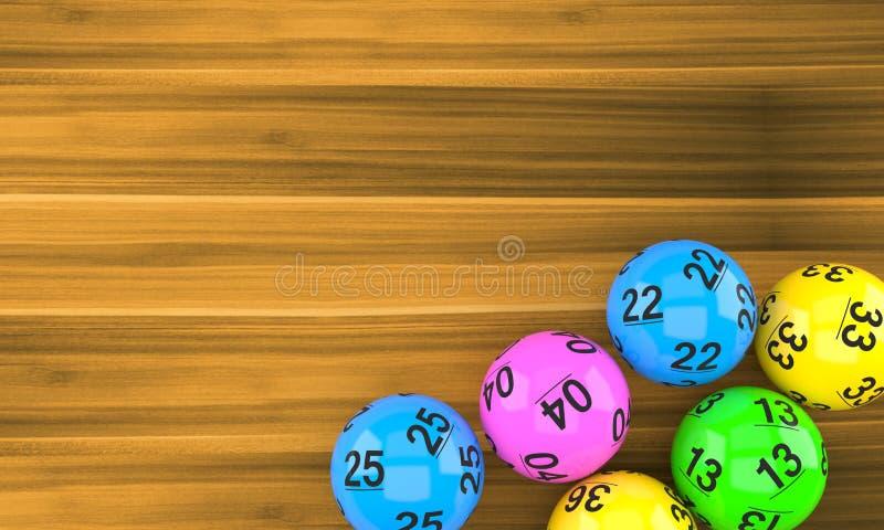 Loterijballen op hout royalty-vrije illustratie