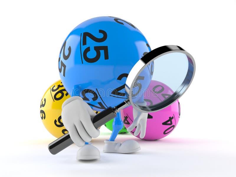 Loteryjka balowy charakter patrzeje przez powiększać - szkło ilustracja wektor