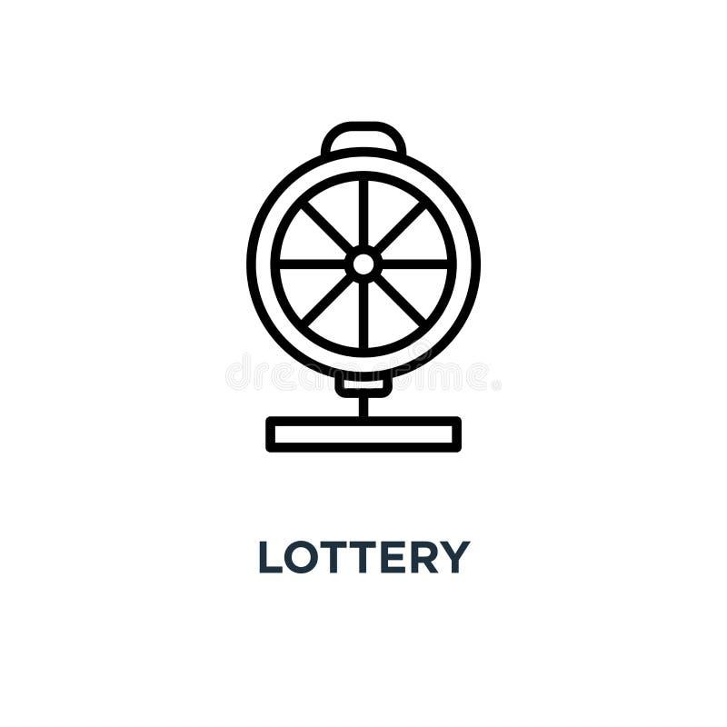 Loteryjna ikona Liniowa prosta element ilustracja Kasynowy roulett ilustracji