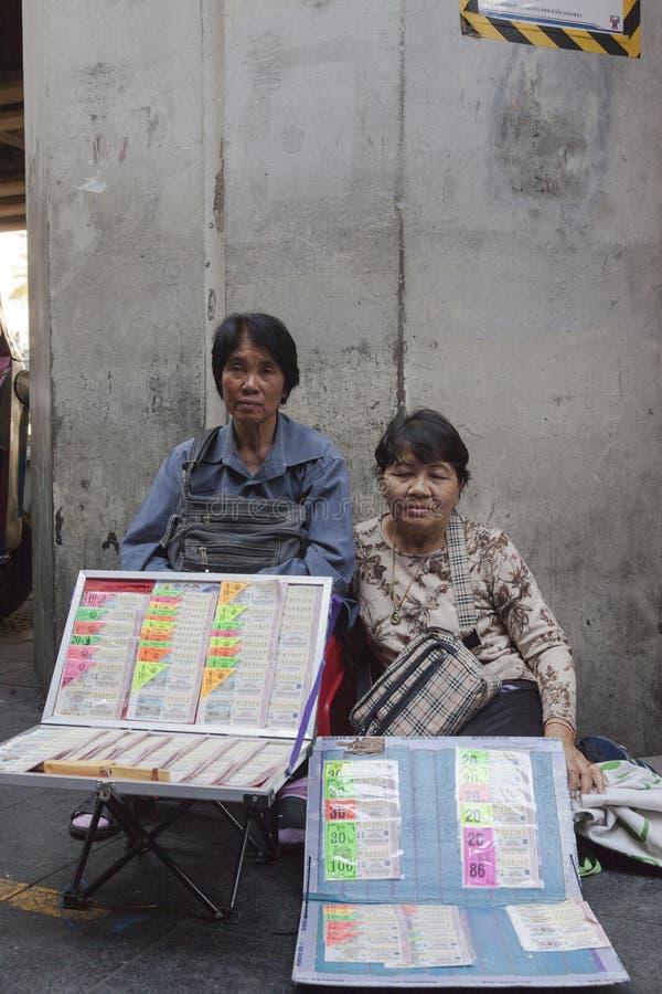 Loteryjni sprzedawcy w Bangkok obrazy royalty free