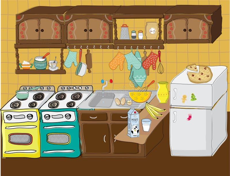 Lotes da sagacidade da cozinha do material de cozinha ilustração stock