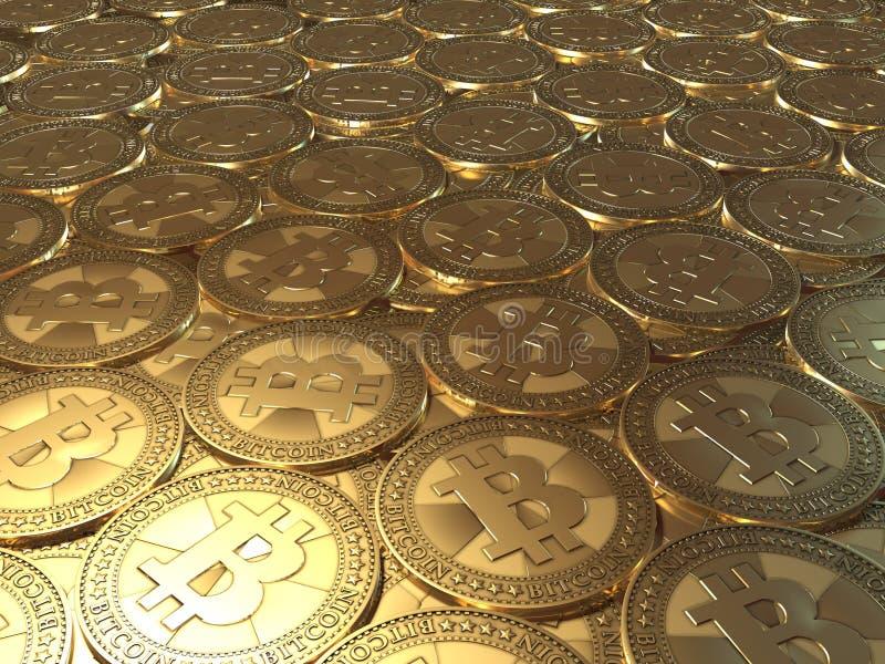 Lotes das moedas Bitcoin ilustração do vetor