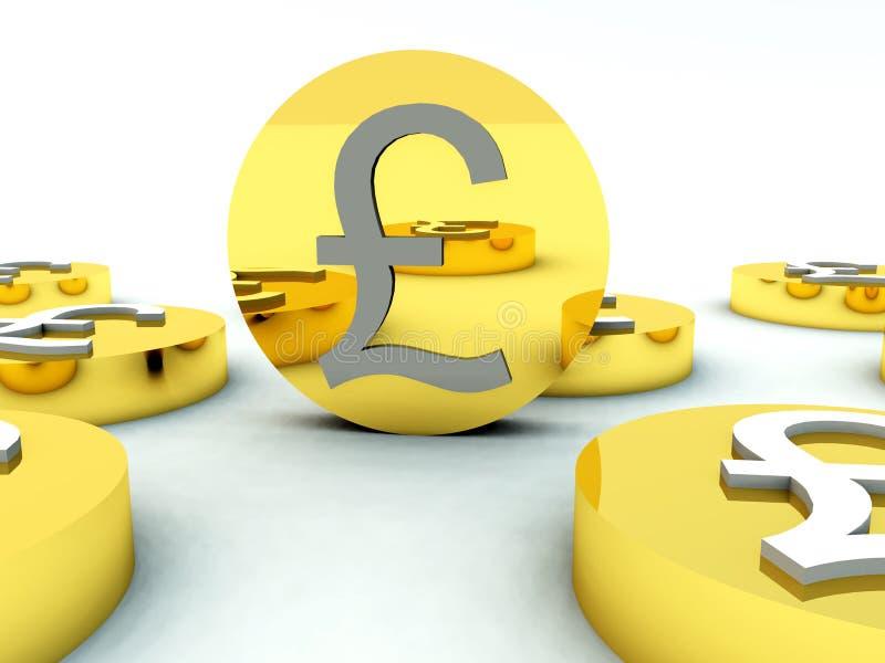 Lotes das moedas de libra britânica 4 ilustração royalty free