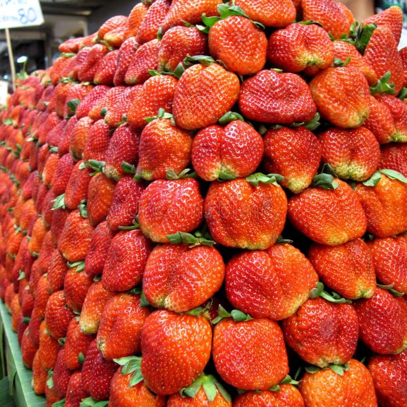 Lotes das morangos como o fundo ou o papel de parede no norte do mercado de Tailândia fotografia de stock royalty free