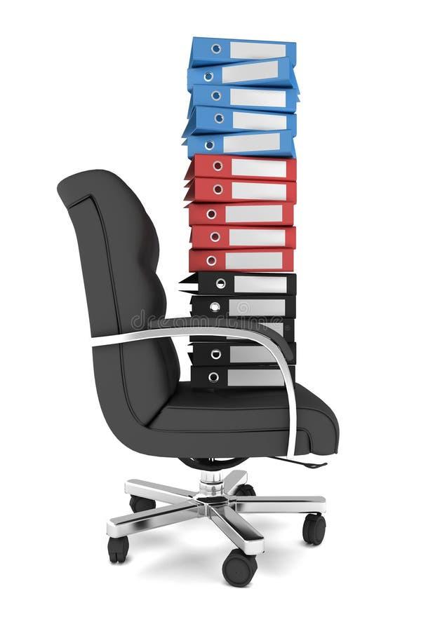 Lotes de dobradores de arquivo em uma cadeira do escritório ilustração royalty free