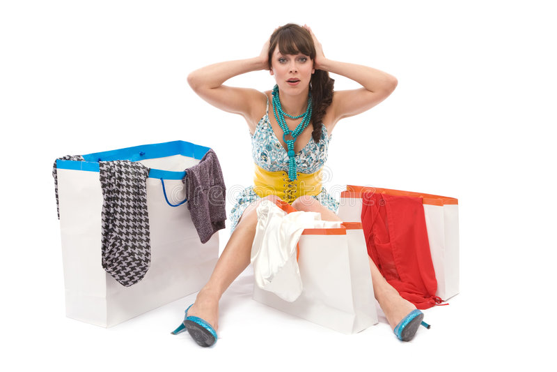 Lotes de sacos de compra imagens de stock royalty free