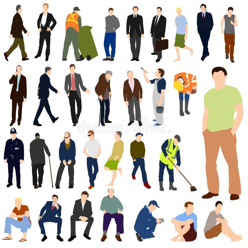 Lotes do jogo de cor 01 dos homens ilustração do vetor