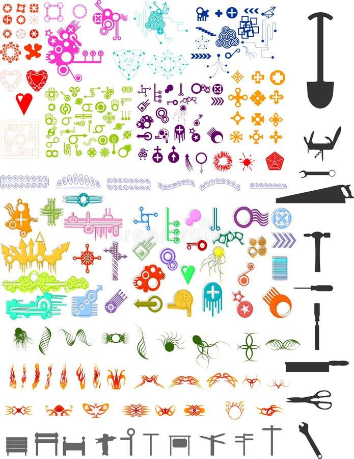 Lotes dos elementos ilustração do vetor
