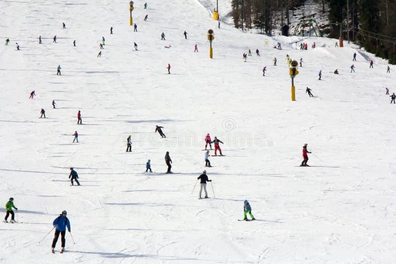 Lotes dos esquiadores e dos snowboarders na inclinação fotos de stock