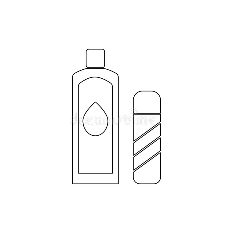 lotionöversiktssymbol Badrum- och bastubest?ndsdelsymbol H?gv?rdig kvalitets- grafisk design Tecken symbolsamlingssymbol f?r webs stock illustrationer