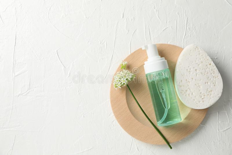 Lotion, allium flower and sponge on white background. Copy space royalty free stock photography