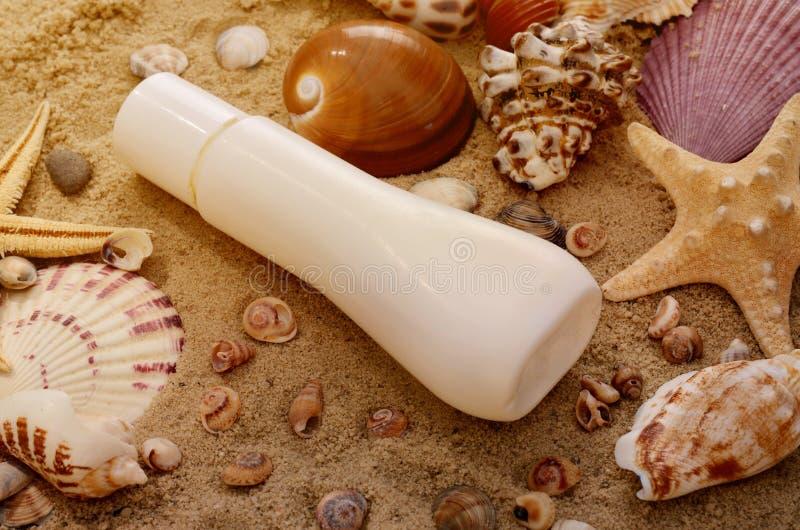 Lotion de Sun et différents coquillages sur le sable de plage Fond d'été photographie stock libre de droits
