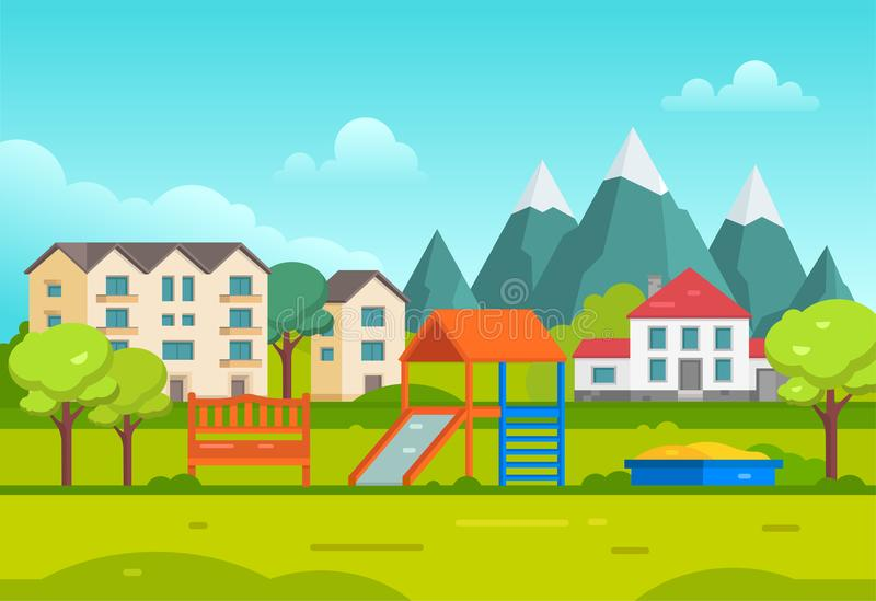 Lotissement avec le terrain de jeu par les montagnes - illustration moderne de vecteur illustration libre de droits