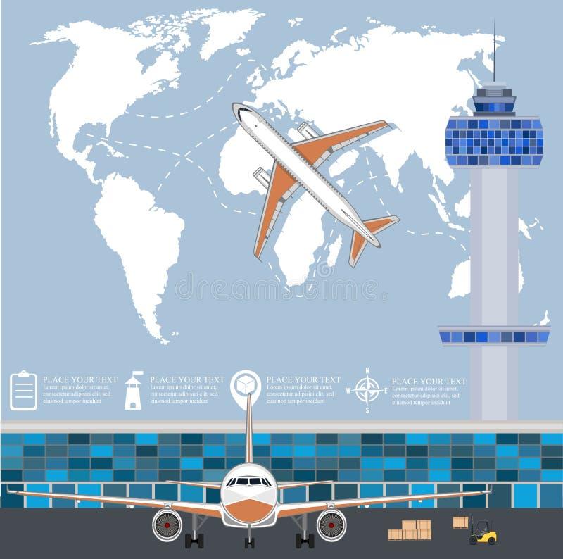 Lotnictwa plakatowy ustawiający z samolotem w lotnisku royalty ilustracja