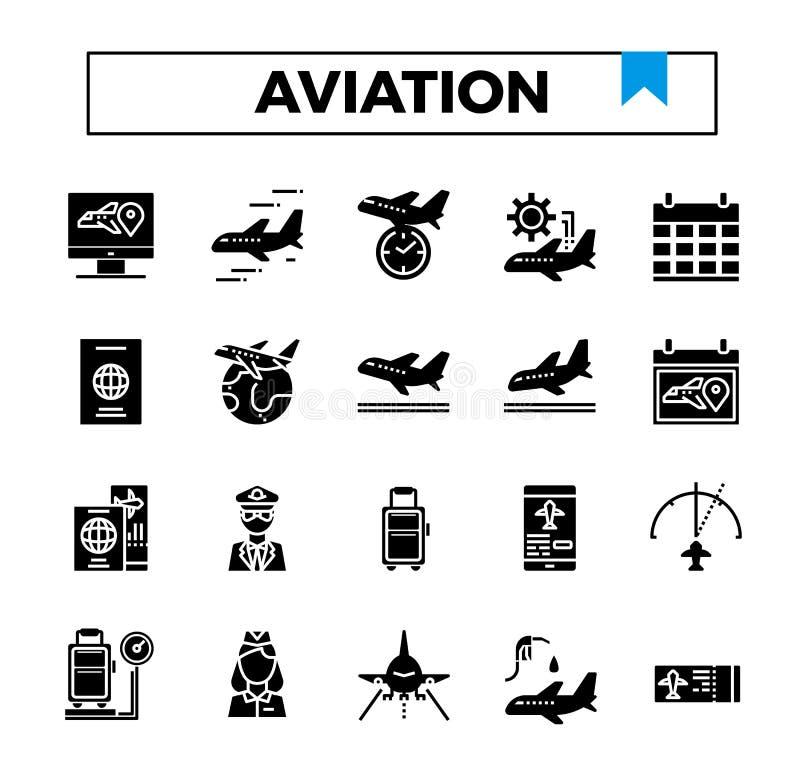 Lotnictwo glifu projekta ikony set ilustracji