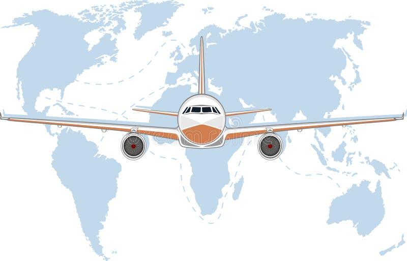 Lotnictwo plakat z dżetowym samolotem ilustracji