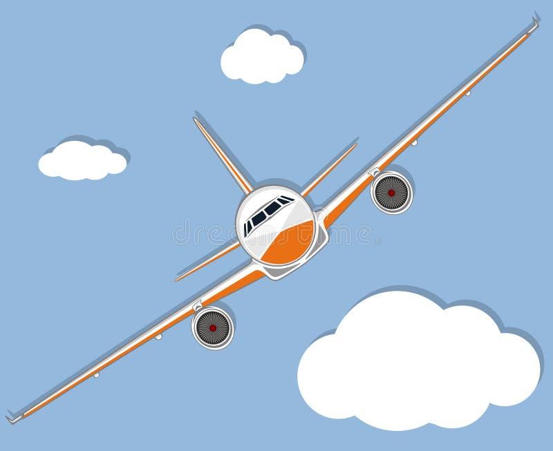 Lotnictwo plakat z dżetowym samolotem w niebie royalty ilustracja