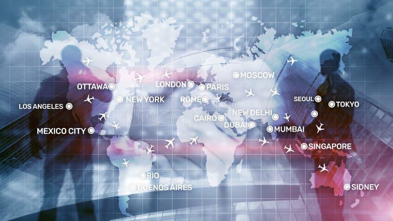 Lotnictwo tapeta z samolotami nad mapą z ważnymi miast imionami Cyfrowej mapa z samolotu pojęciem dookoła świata obraz royalty free