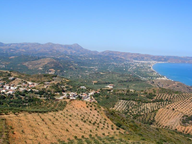 Lotnicza fotografia, Kissamos, Chania, Crete, Grecja zdjęcia stock