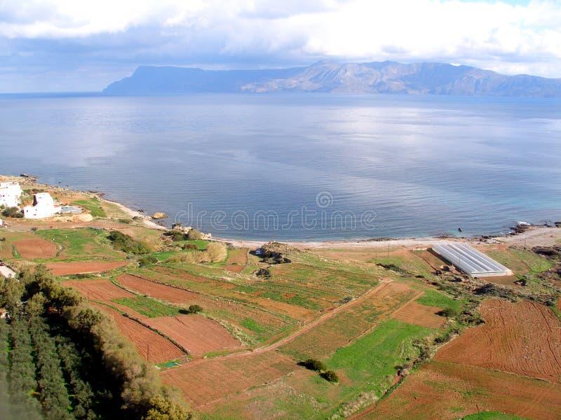 Lotnicza fotografia, Kissamos, Chania, Crete, Grecja obrazy stock