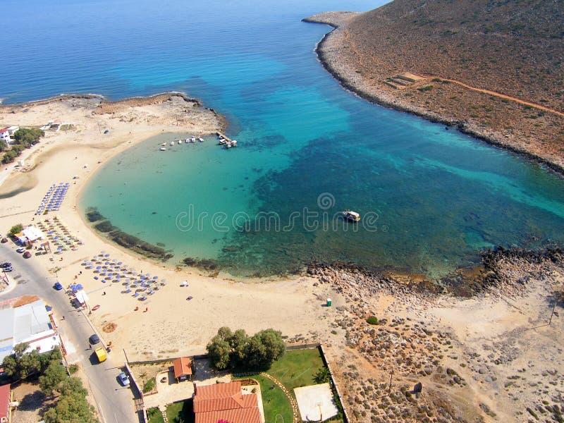 Lotnicza fotografia, Stavros plaża, Chania, Crete, Grecja zdjęcie royalty free