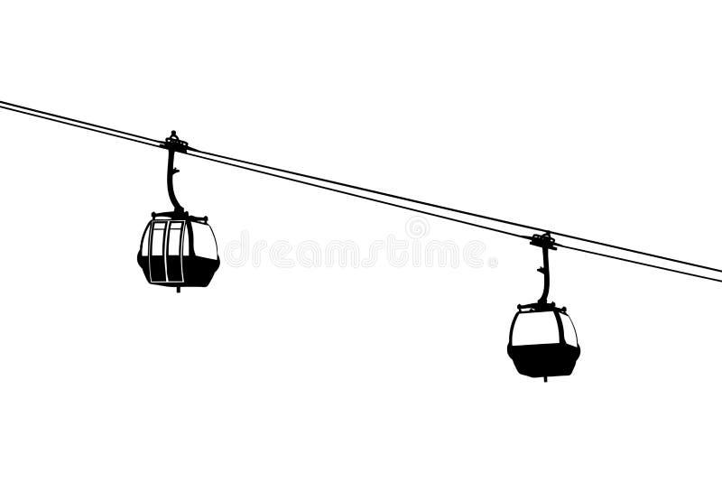 lotnicza kabin kabla sylwetka dwa ilustracja wektor