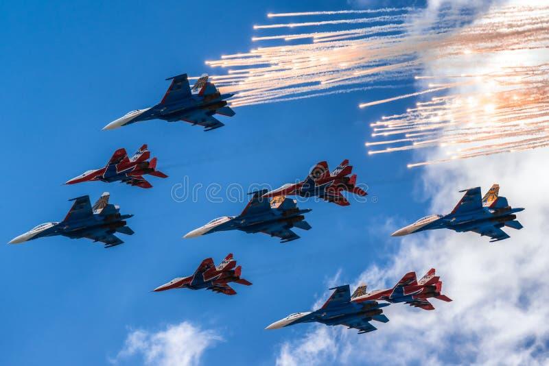Lotnicza parada nad Moskwa zdjęcie royalty free