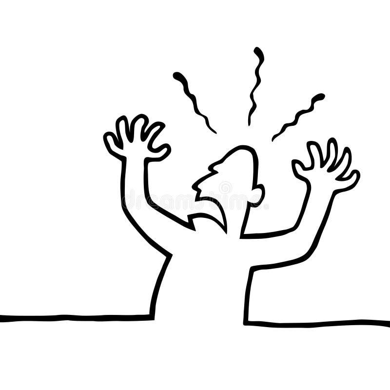 lotnicze gniewne ręki jego osoba ilustracja wektor