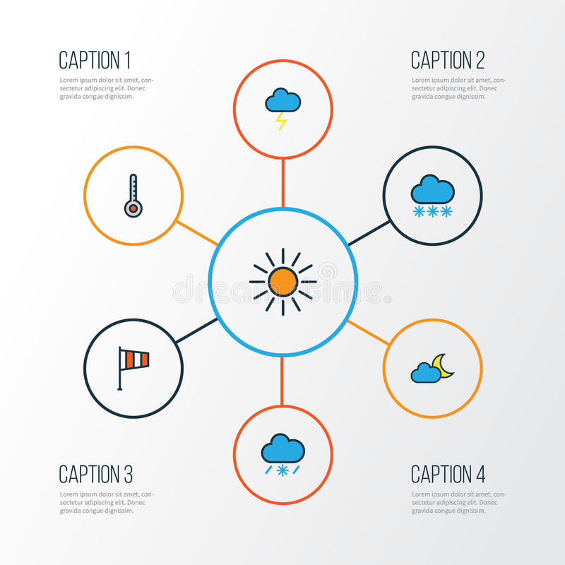 Lotnicze Kolorowe kontur ikony Ustawiać Kolekcja Snowing, zmierzch, tornado I Inni elementy, Także Zawiera symbole Taki ilustracja wektor
