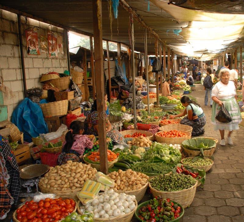 lotniczego Antigua Guatemala rynku otwarty warzywo fotografia royalty free