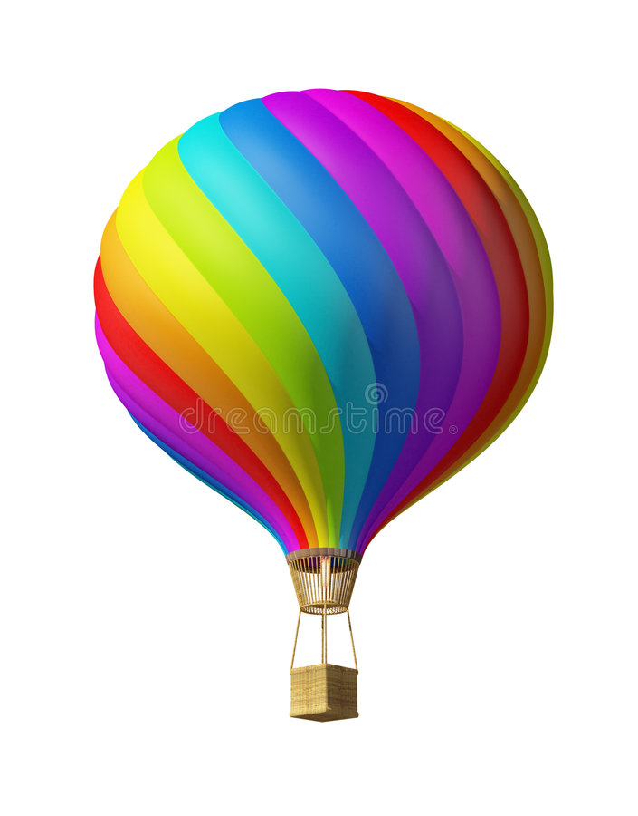 lotniczego ballon kolorowy gorący odosobniony royalty ilustracja