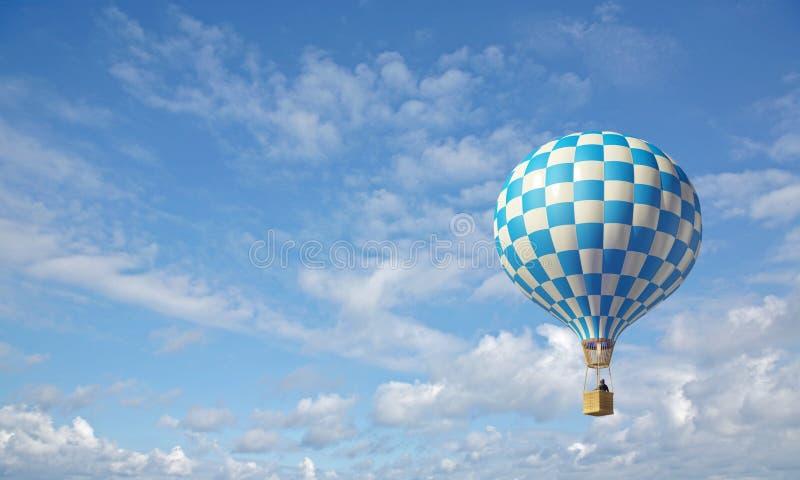 lotniczego balonu błękitny checker gorący biel ilustracji
