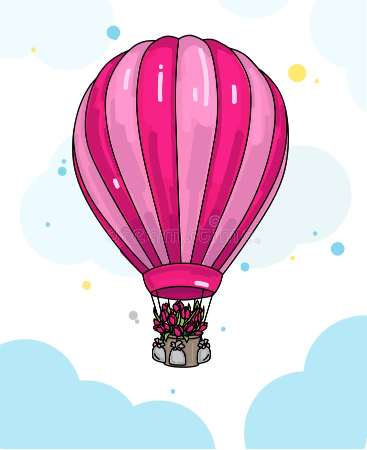 Lotniczego balonu ilustracja z kwiatami w koszu ilustracja wektor