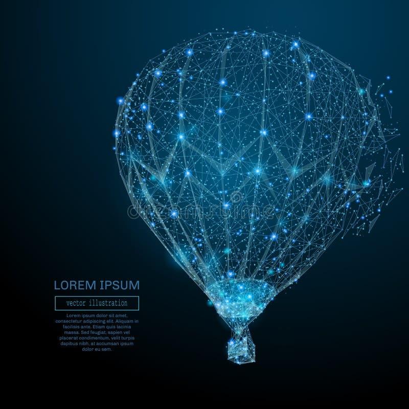 Lotniczego balonu niski poli- błękit ilustracja wektor