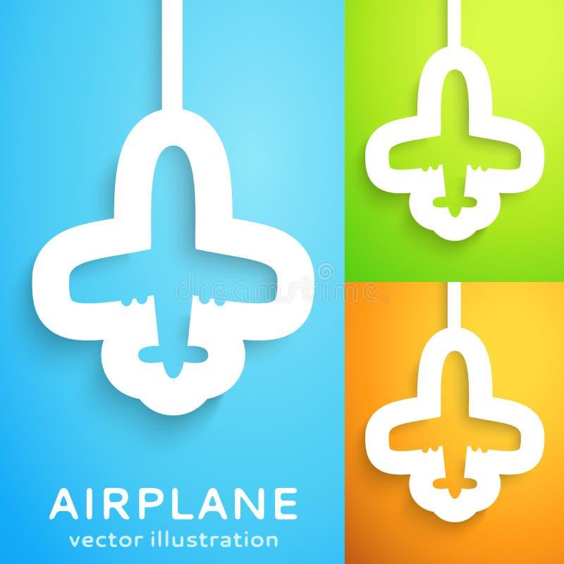 Lotniczego samolotu cięcie z papieru na koloru tle. ilustracja wektor